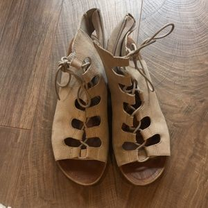 Grey Aralyn Steve Madden lace up sandal booties.